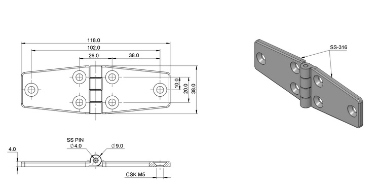 Stainless steel screw-on hinges 316 (a4) Stainless Steel Hinge 5 Holes 2